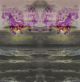 'SEAWIND AND THE SEA', 2012 Original Purple Biro Drawing 20cm x 20cm