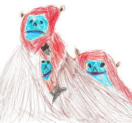 'Golden Snub Nose Monkeys' by 9 year old student, South Shields 'Drawing for Endangered Species' workshop, 2014