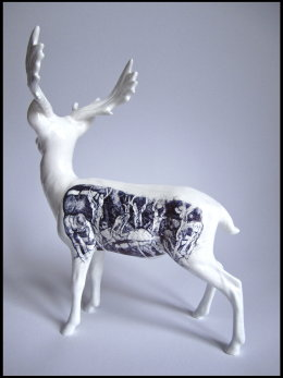 'The Prophet', Side View black Biro drawing on Beswick Stag Figurine