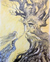 Sketch copied from an Arthur Rackham book - Fairy & Old Tree
