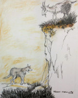 Sketch copied from an Arthur Rackham book - The Goat & the Wolf
