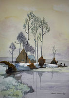 Winter Scene - House on Lake