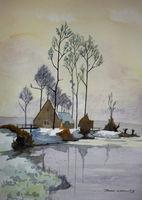 Winter Scene - House on Lake