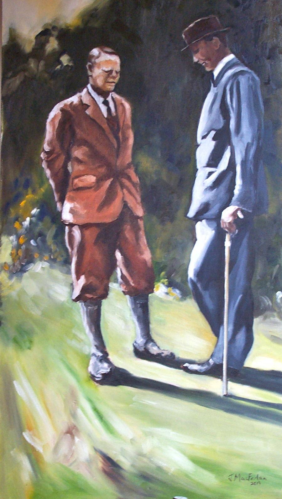 Two gentlemen in a garden