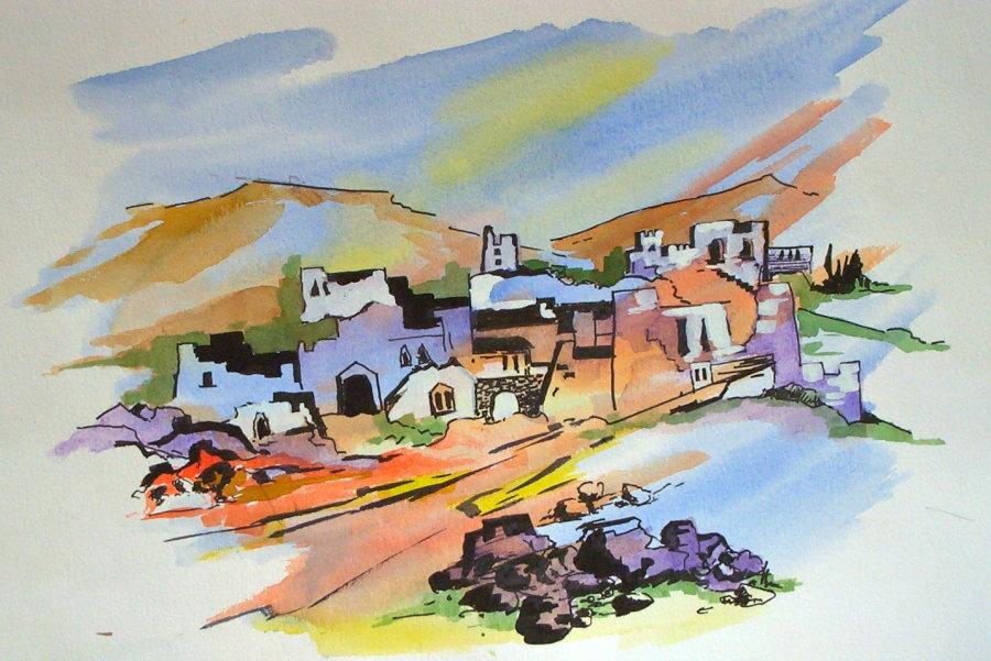 Desert Village drawing