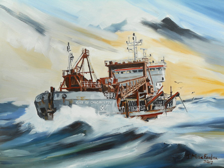 """City of Chichester"" dredging at sea"