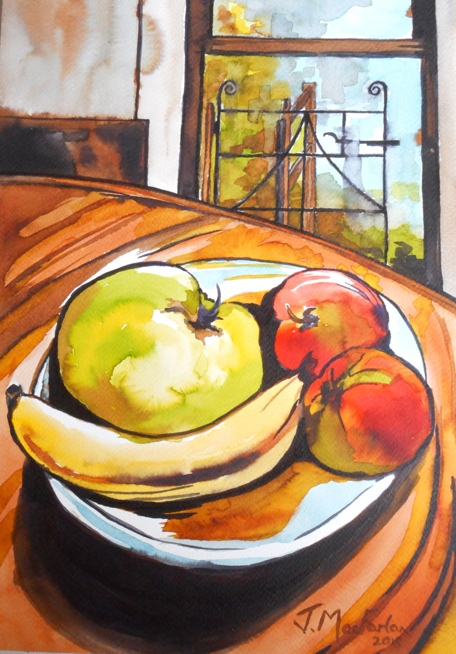 Bowl of Fruit and a Welsh gate