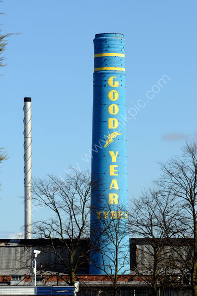 The landmark chimney at the Goodyear factory on Stafford Road.