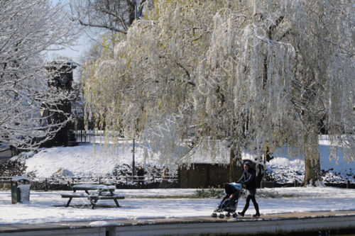 Picture postcard scene in Tettenhall High Green after snow in early April 2008.