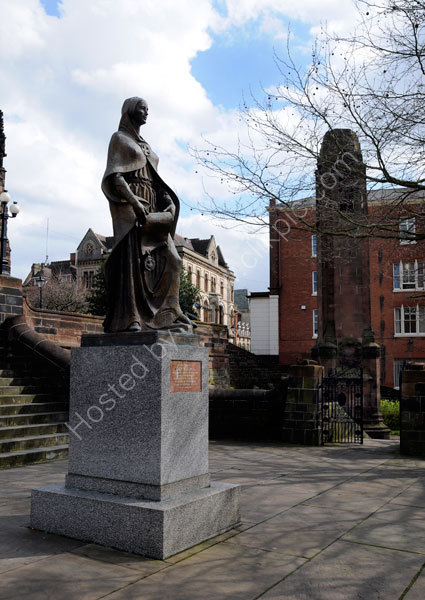 The Lady Wulfruna statue on the steps of St Peter's Church.