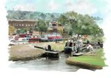 Opening the lock,Canal Basin, Brighouse - 2014 calendar