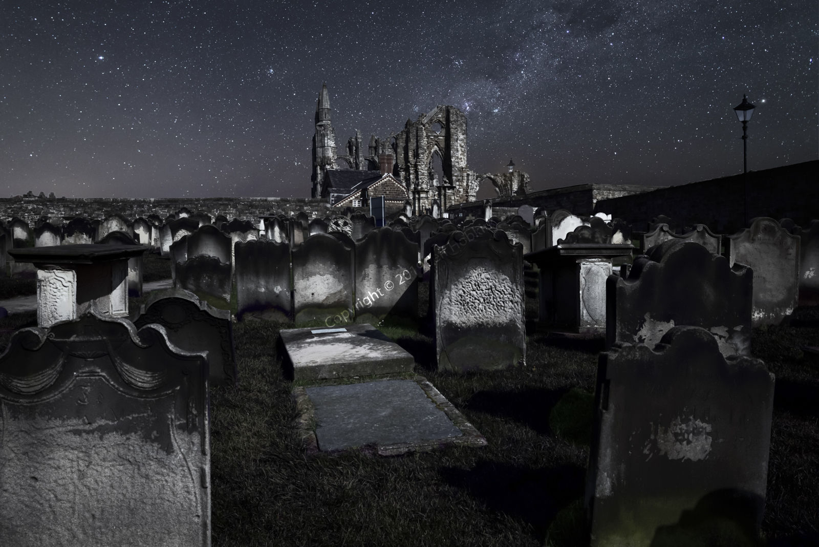 Starry Sky Over Whitby Abbey