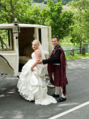 A horse drawn carriage awaits the happy couple!