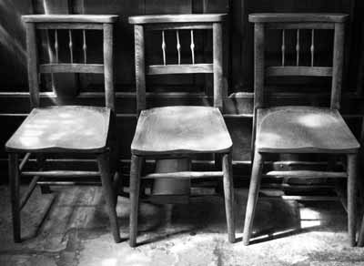 3 chairs at Lincoln cathedral
