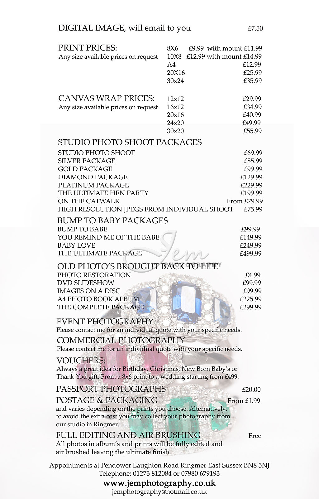 Print and Photo Shoot Price List