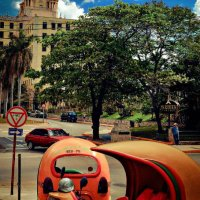 Coco taxis outside the Hotel Nacional, Cuba
