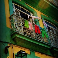 Clothes hanging out to dry in the sun, Havana