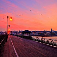 Ryde Pier Pink Sky with Birds