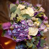 Stunning cadbury purple, blue hydrangea lilac & white rose bouquet