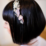 Wedding sleek bob hair style, silver & crystal headband