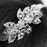 Silver, vintage bridal hair accessory on ribbon headband