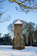 The Water tower or Pigeonery in the Medieval Village in Abington Park.