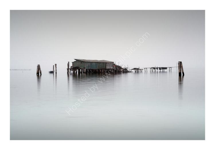 Fishing Huts on Foggy Lagoon No. 2
