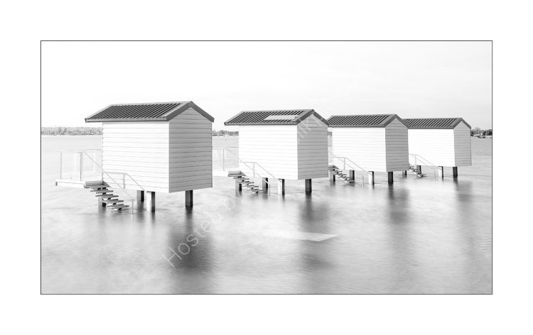 Osea Island stilt huts.
