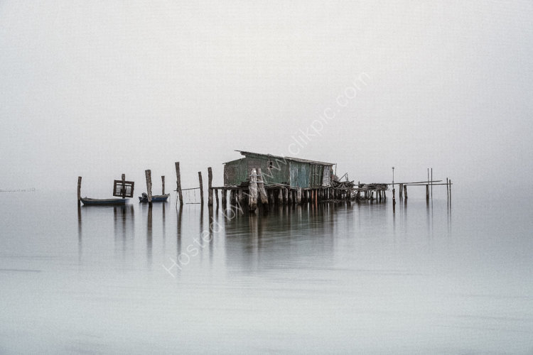 Fishing Huts on foggy Lagoon no.1