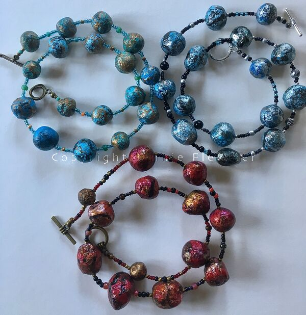 necklaces (red/blues)