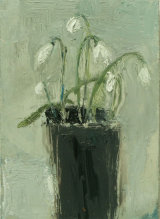 February Snowdrops - oil on gesso panel