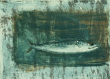 sea  and mackerel - mixed media on gesso panel