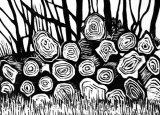 Small woodcut 30 log pile