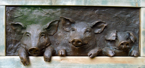 Pigs at the Gate, cold cast bronze panel @ £260.00