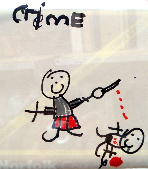 'Cheerful Criminals' at The Big Draw, in North Walsham Library