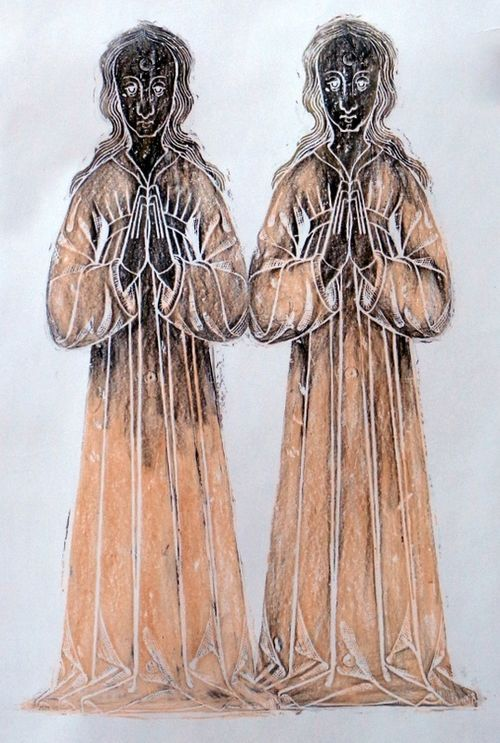 'Twins' - brass rubbing duplicate assemblage