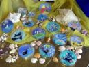 Petri-dish art on a seaside theme (Burnham Mkt school project)