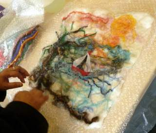 Felting a picture - work in progress