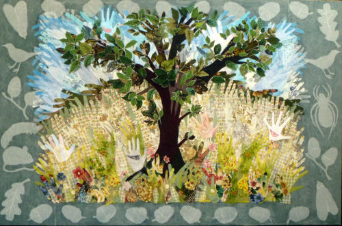 'Communitree' textile collage wall panel for the Friendship Hall, Aylsham, Norfolk.
