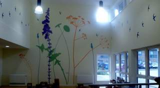 Final stage of painted mural in Aylsham sheltered housing debvelopment