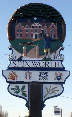 17th Century onwards side, of Spixworth village sign.
