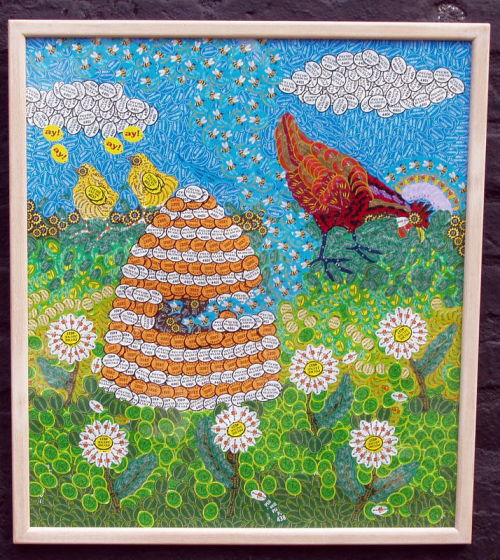 Sticky labels: Hen and Beehive (sold)