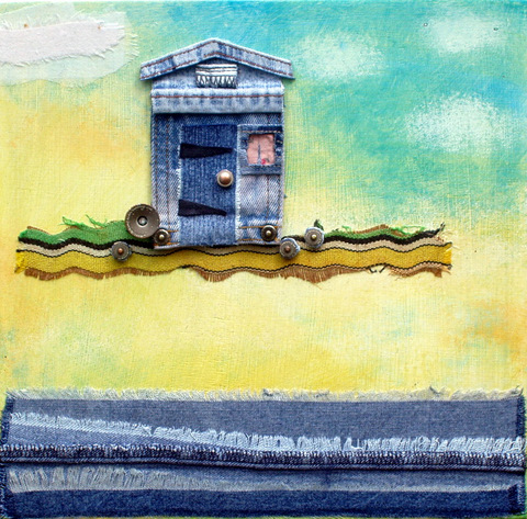 Beach Hut: denim collage