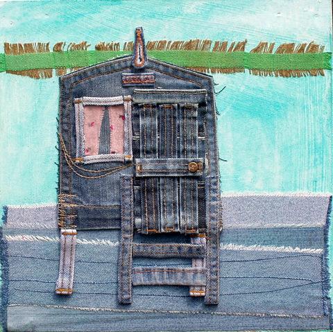 'Beach Hut' denim collage