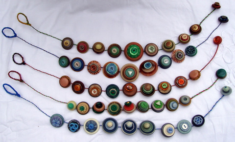 button necklaces selection of samples. For sale from £30.00 each
