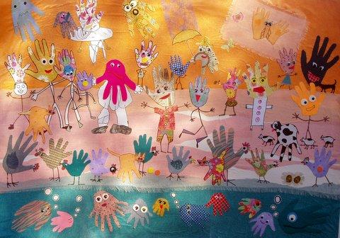 Holt Surestart Centre - collage of Hand Creatures