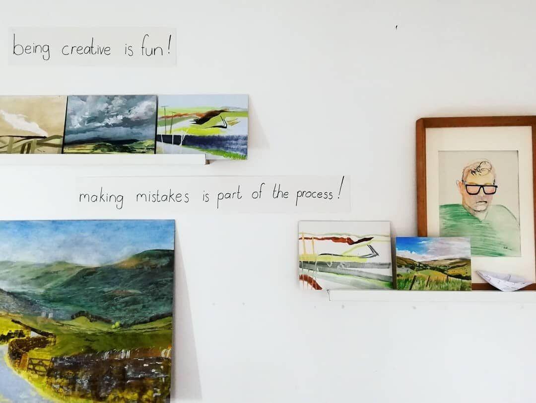 I put up motivational mantra's around my studio!