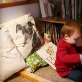 Nancy enjoying her cosy book corner with a Mr Skip cushion. A Trial Product!