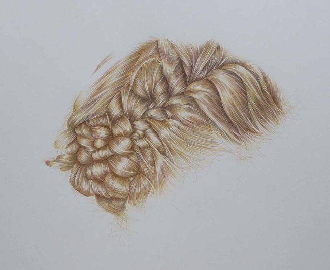 Plaited Hair (coloured pencil)