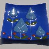 Blue leaf dish